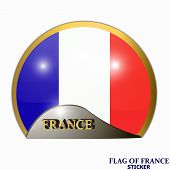 Made In France Sticker. Banner Illustration With Flag. Bright Sticker With Flag Of France. Happy Fra poster