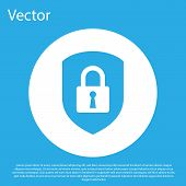 Blue Shield Security With Lock Icon Isolated On Blue Background. Protection, Safety, Password Securi poster