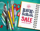 Back To School Sale Vector Banner Design With School Supplies, Education Elements And Back To School poster