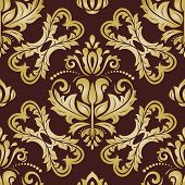 Classic Seamless Vector Pattern. Damask Orient Ornament. Classic Vintage Golden Background. Orient O poster