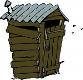 stock photo of outhouse  - Aussie Cartoon country dunny - JPG