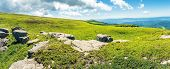Panorama Of A Mountain Meadow With Rocks. Beautiful Sunny Day In Summer. Boulders Among The Tall Gra poster
