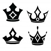 Set Of Black Crown, Crown Icon Vector In Modern Flat Style For Web, Graphic And Mobile Design. Crown poster