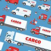 Cargo Truck Vector Van Or Minivan Car For Delivery Or Transportation Freight Illustration Set Of Moc poster