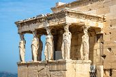 Caryatid Porch Of The Old Erechtheion Temple, Athens, Greece. It Is A Famous Landmark Of Athens. Bea poster