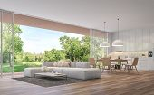 Modern Living, Dining Room And Kitchen With Garden View 3d Render.the Rooms Have Wooden Floors ,deco poster