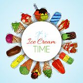 Ice Cream Round Pattern Summer Natural Fresh And Cold Sweet Food Vector Illustration. Healthy Homema poster