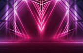 Empty Background Scene. Dark Street Reflection On Wet Asphalt. Rays Of Neon Light In The Dark, Neon poster