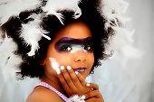 Adorable Black Girl Child Dressed for Mardi Gras Carnival