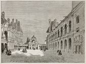 Fontainebleau court and Porte-Dauphine old view. Created by Therond, published on Le Tour du Monde,