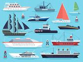 Maritime Ships Flat. Water Carriage, Vessels Boats Yacht Ship Battleship Warship Large Vessel And Sp poster