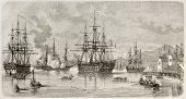 Lord Elliot arrival in Piraeus harbour, Greece. Created by Lebreton after Roux, published on L'illustration, Journal Universel, Paris, 1863