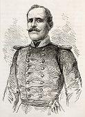 Colonel Artemis old engraved portrait, military commander of  Greek insurrection in Nafplio.  Created by Janet-Lange, published on L'Illustration, Journal Universel, Paris, 1863