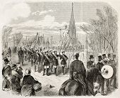 50th anniversary of German independence, ceremony in Kreuzberg, Berlin. Created by Dumont after Loeffler, published on L'Illustration, Journal Universel, Paris, 1863