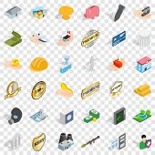 Place Icons Set. Isometric Style Of 36 Place Vector Icons For Web For Any Design poster