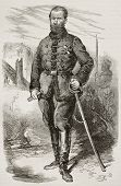 Marian Langiewicz old engraved portrait, Polish January Uprising leader. Created by Worms, published on L'Illustration, Journal Universel, Paris, 1863