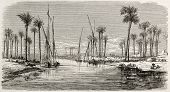Workers encampment in Tall-al-Kabir channel banks, between Cairo and Suez, old view. Created by Gail