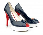 stock photo of peep toe  - Navy blue white red high heels open toe pump shoes - JPG