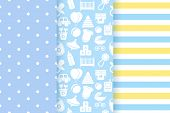 Baby Boy Blue Pattern. Baby Shower Seamless Backgrounds. Vector. Set Pastel Patterns For Invitation, poster