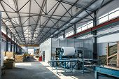 Automatic Conveyor Machinery Line Or Belt For Metal Roll Forming In Industrial Factory Interior As I poster
