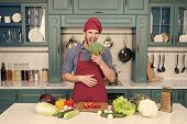 Man Cook Vegetarian Recipe With Fresh Vegetables. Vegetarian Diet Concept. Culinary Recipe. Chef Coo poster