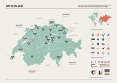 Vector Map Of Switzerland. Country Map With Division, Cities And Capital Bern. Political Map,  World poster