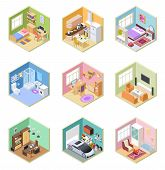 Isometric Rooms. Designed House, Living Room Kitchen Bathroom Bedroom Toilet Apartment Interior With poster