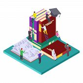 Library, Education Vector Isometric Concept. Illustration Of Students And Books, Self Education. 3d  poster