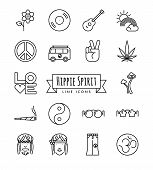 Hippie Spirit Line Icons Set. Collection Of Hippie Lifestyle And Accessories Symbols Vector Illustra poster
