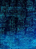 Full Frame Blue Illustration Background Of Hand-written Math Calculations poster