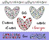 Set Of Floral Doodling Hearts With Editable Stroke On The Transparent Background. Borders And Word L poster