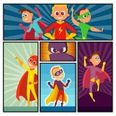 Superheroes Banners. Kids Heroes Characters In Action Poses Comic Super Persons Colored Vector Carto poster