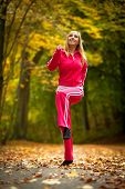 Healthy Active Lifestyle. Fitness Woman Doing Exercise Outdoor, Cross Training Workout. Young Blonde poster