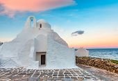 Church Of Panagia Paraportiani At Sunrise, The Most Famous Architectural Structures In Greece, On Th poster