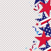 Fourth Of July. 4th Of July Holiday Background. Usa Independence Day Decoration Elements - Confetti  poster