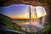 Seljalandfoss from behind cave interior, Iceland. One of the most beautiful waterfall in Iceland. Hd poster