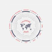 2020 Calendar Template.circle Calendar Template.calendar 2020 Set Of 12 Months.starts From Sunday.ye poster