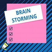 Conceptual Hand Writing Showing Brain Storming. Business Photo Showcasing Stimulating Creative Think poster