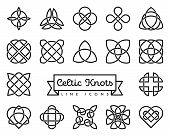 Collection Of Traditional Celtic Knots Line Icons Vector Illustration. Spirituality, Religion And Oc poster
