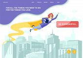Metaphor Flat Landing With Motivation For Increasing Business Success. Cartoon Super Businesswoman I poster