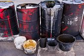 Dirty Used Colorful Oil Drums Are Modified To Look Like Garbage Cans In The Engine Room. Used Engine poster
