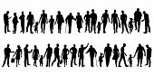Collection Of People Silhouettes. Set Of Different Human Silhouettes Isolated On White Background. V poster