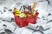 Shopping basket with foods on the pile of receipt.   Consumerism and grocery expenses budget. 3d ill poster