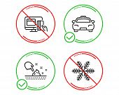 Do Or Stop. Skin Moisture, Online Payment And Taxi Icons Simple Set. Snowflake Sign. Wet Cream, Mone poster