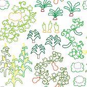 Seamless stroke vegetable harvest garden pattern