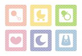 foto of moon-flower  - Sweet vector pastel baby icon set with polka dots isolated on white background - JPG