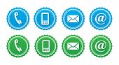 Contact retro labels set - blue and green