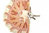 5000 Rubles Banknotes And Bunch Of Keys