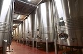 picture of fermentation  - huge metal reservoirs for the fermentation of wine - JPG