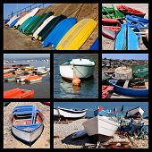 Photos mosaic of small boats